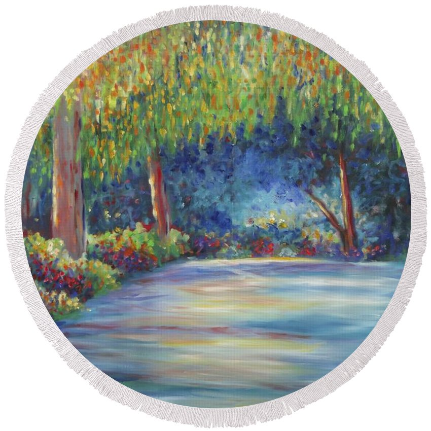 Landscape Round Beach Towel featuring the painting The Edge by Shannon Grissom