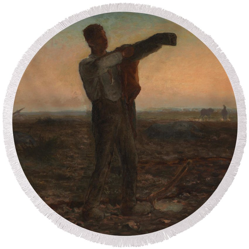 End Of The Day; Effect; Evening; Twilight; Dusk; Nightfall; Sunset; Atmospheric; Tired; Weary; Male; Work; Labour; Worker; Labourer; Agriculture; Agricultural; Field; Landscape; Rural; Countryside; Toil; Hard Work; Peasant; Realist; Exhausted; Exhaustion; Farm; Farmer; France; French; Coat; Jacket; Dressing; Cold; Putting On; Sleeve; Silhouette; Silhouetted Round Beach Towel featuring the painting The End Of The Day Effect Of Evening by Jean-Francois Millet