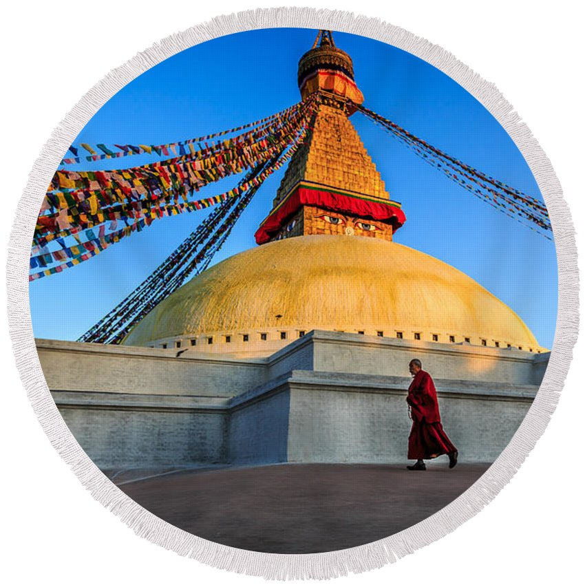 Nepal Round Beach Towel featuring the photograph The Endless Search For Eternity by Kim Petersen