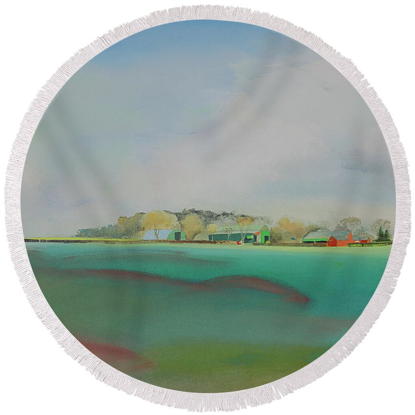 Landscape Round Beach Towel featuring the painting The English Farm  A Break In The Cloud by Charles Stuart