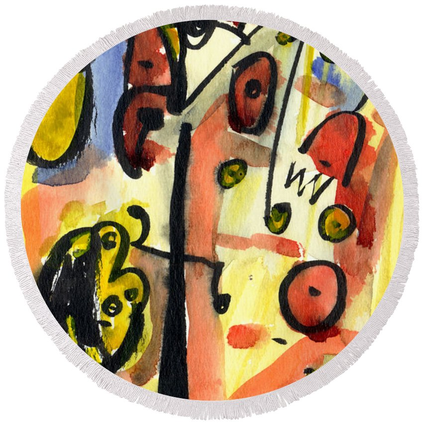 Abstract Art Round Beach Towel featuring the painting The Equation by Stephen Lucas