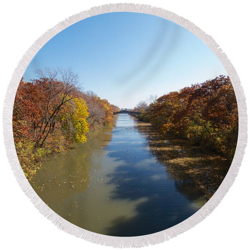 Erie Canal Round Beach Towel featuring the photograph The Erie Canal by William Norton