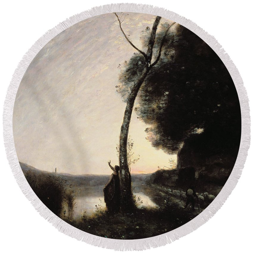 The Evening Star Round Beach Towel featuring the painting The Evening Star by Jean Baptiste Camille Corot