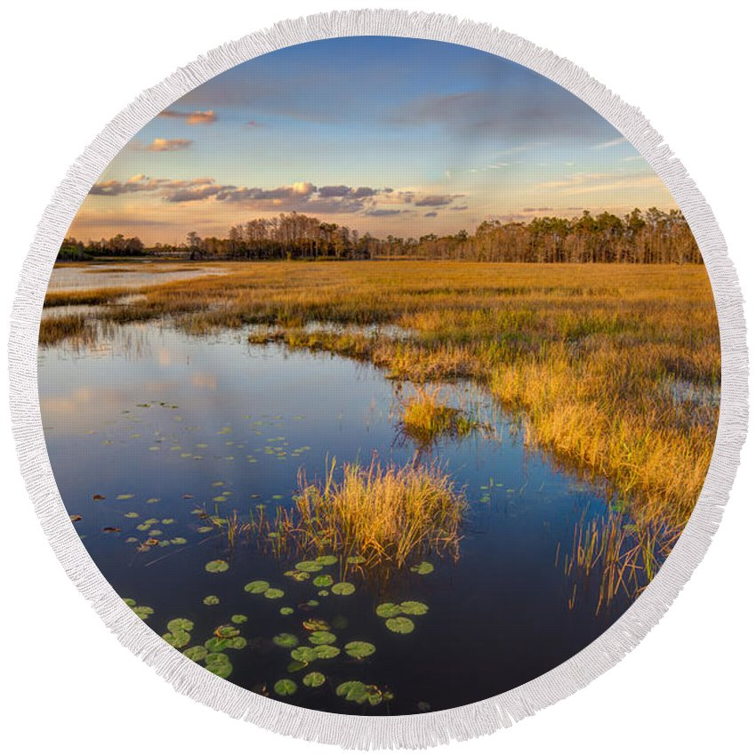 Clouds Round Beach Towel featuring the photograph The Everglades by Debra and Dave Vanderlaan