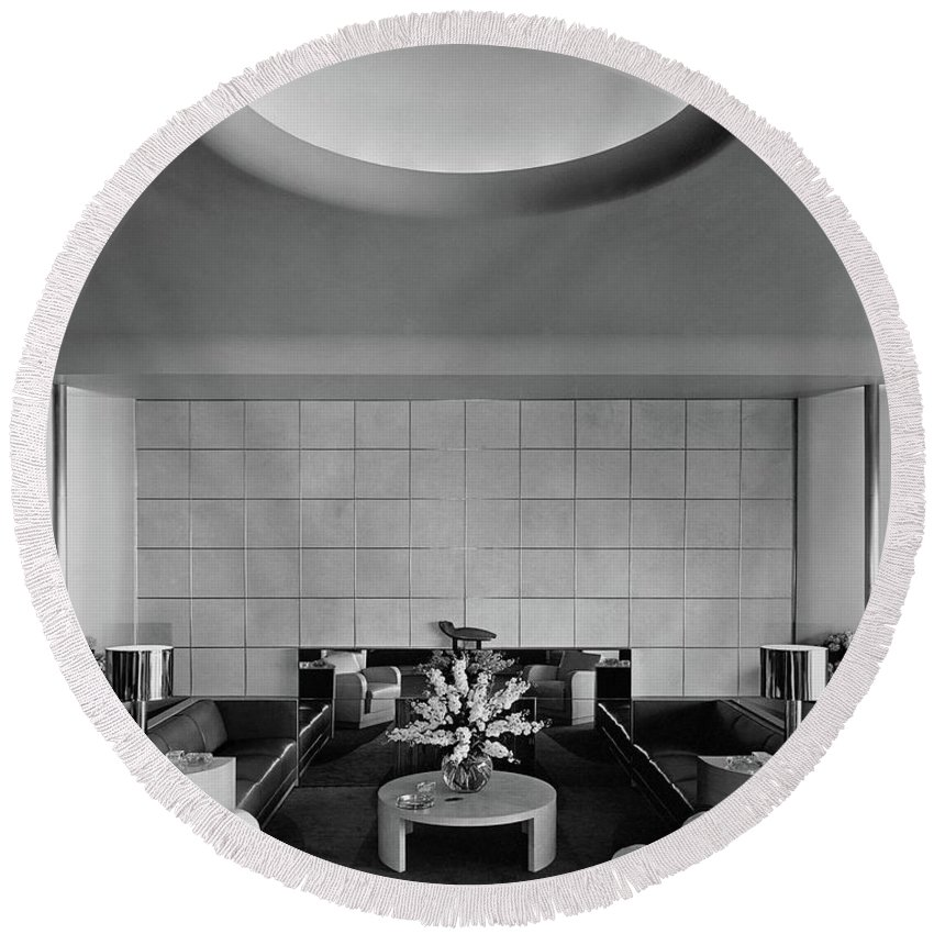 Interior Round Beach Towel featuring the photograph The Executive Lounge At The Ford Exposition by Robert M. Damora