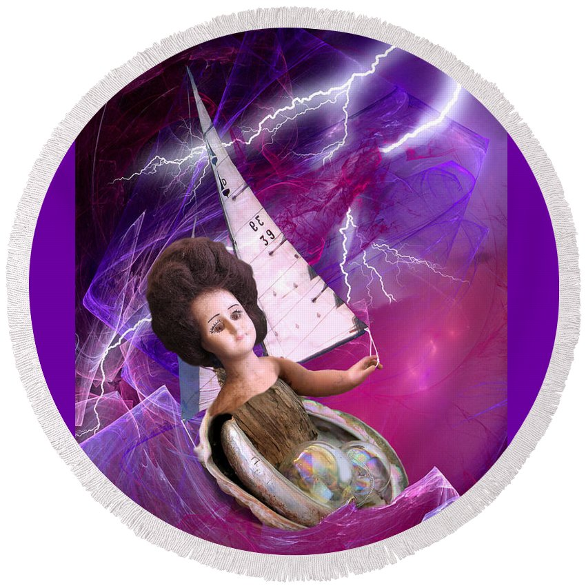 Doll Round Beach Towel featuring the digital art The Explorer by Lisa Yount