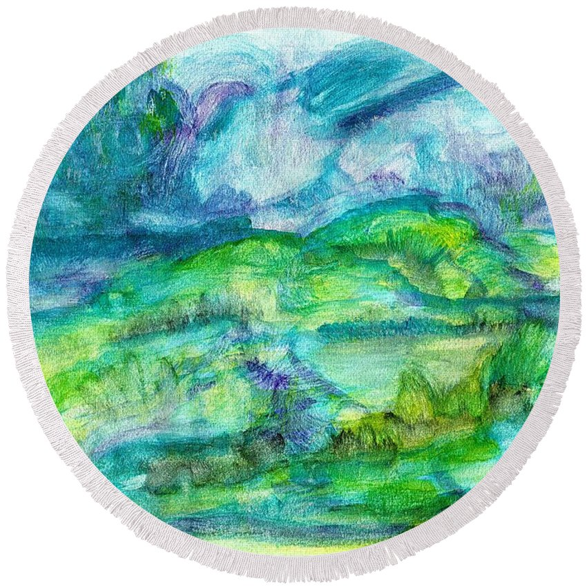 Abstract Round Beach Towel featuring the painting The Eydes Of March by Myrtle Joy