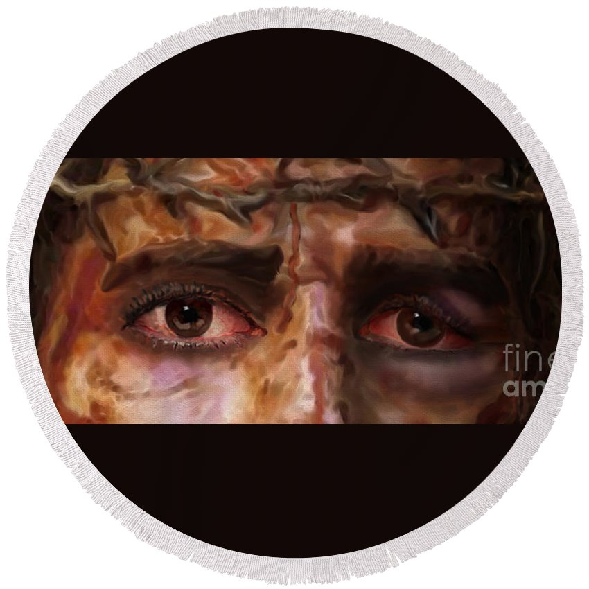 The Fire Of Love In Jesus' Eyes Round Beach Towel featuring the painting The Eyes Of Eternal Love by Todd L Thomas