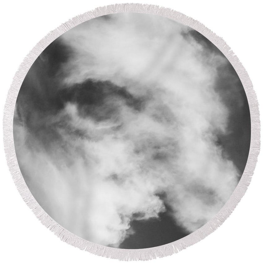 Cloud Round Beach Towel featuring the photograph The Face In The Clouds by Michael Moriarty