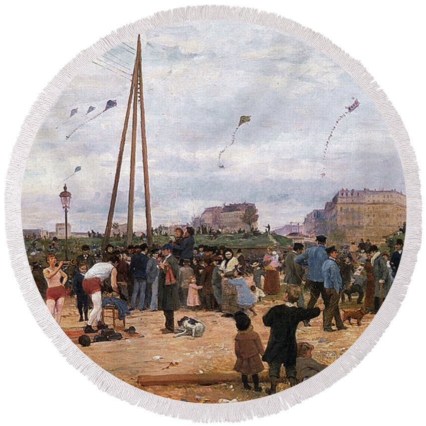 The Fairgrounds At Porte De Clignancourt Round Beach Towel featuring the digital art The Fairgrounds At Porte De Clignancourt Paris by Victor Gabriel Gilbert