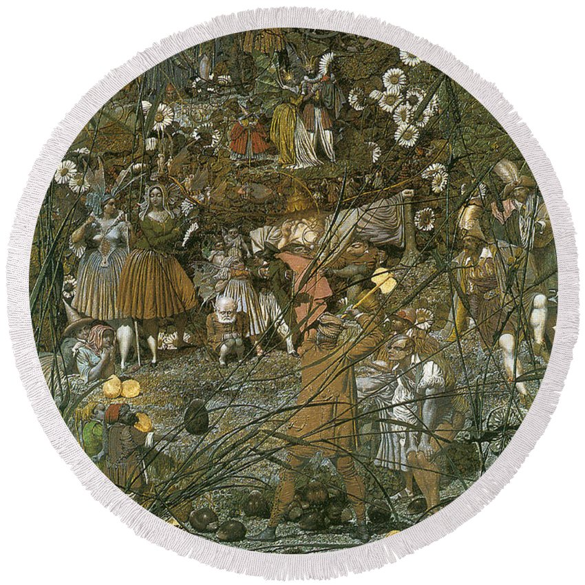 The Fairy Feller Master Stroke Round Beach Towel featuring the digital art The Fairy Feller Master Stroke by Richard Dadd