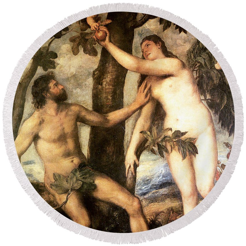 The Fall Of Man Round Beach Towel featuring the digital art The Fall Of Man by Titian