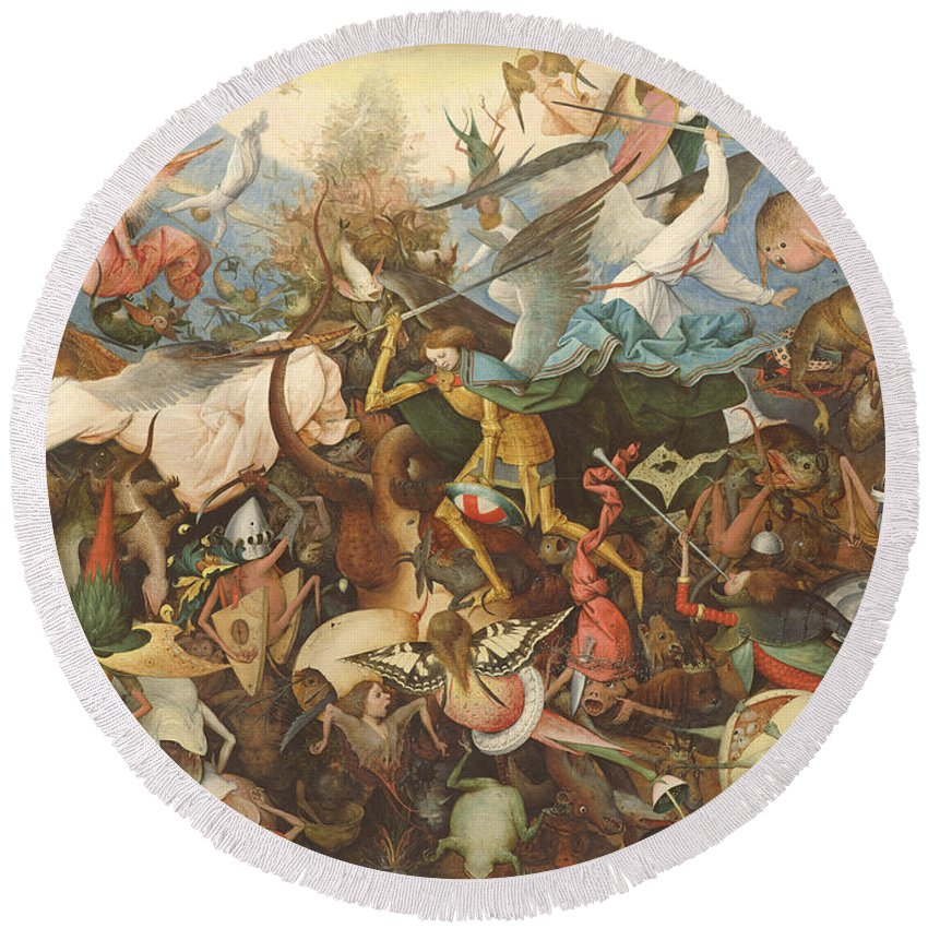 Monsters Round Beach Towel featuring the photograph The Fall Of The Rebel Angels, 1562 Oil On Panel by Pieter the Elder Bruegel