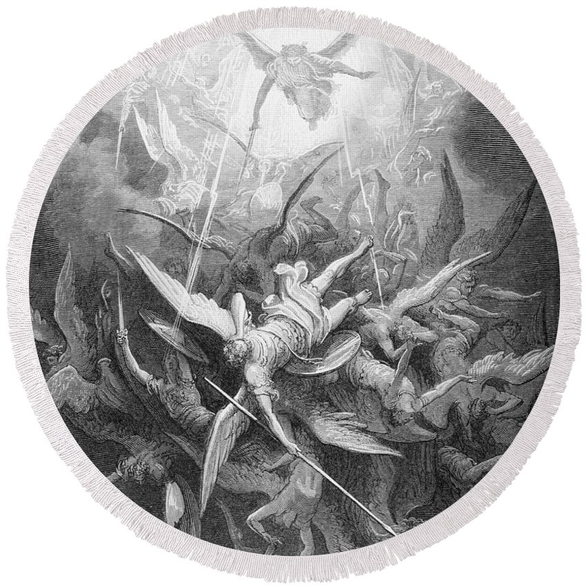 Gustave Dore Round Beach Towel featuring the painting The Fall Of The Rebel Angels by Gustave Dore