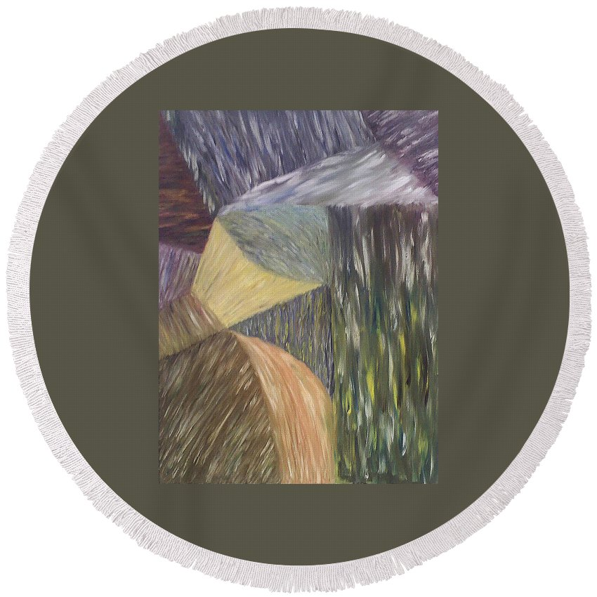 Falls Round Beach Towel featuring the painting The Falling by Michael Benjamin