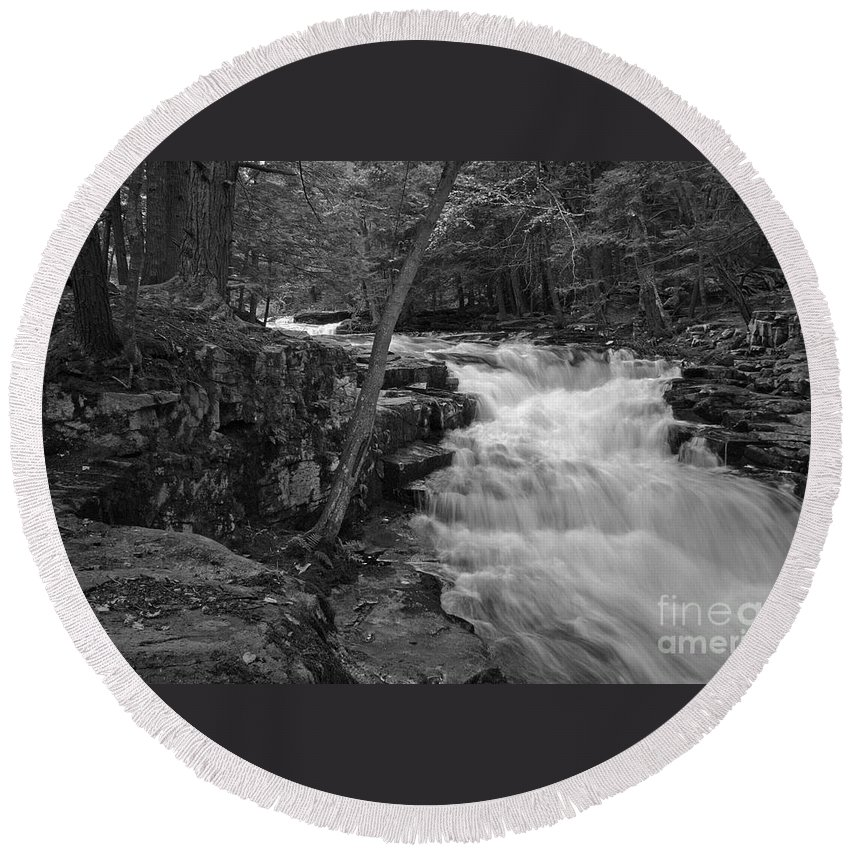 Waterfall Round Beach Towel featuring the photograph The Falls by David Rucker