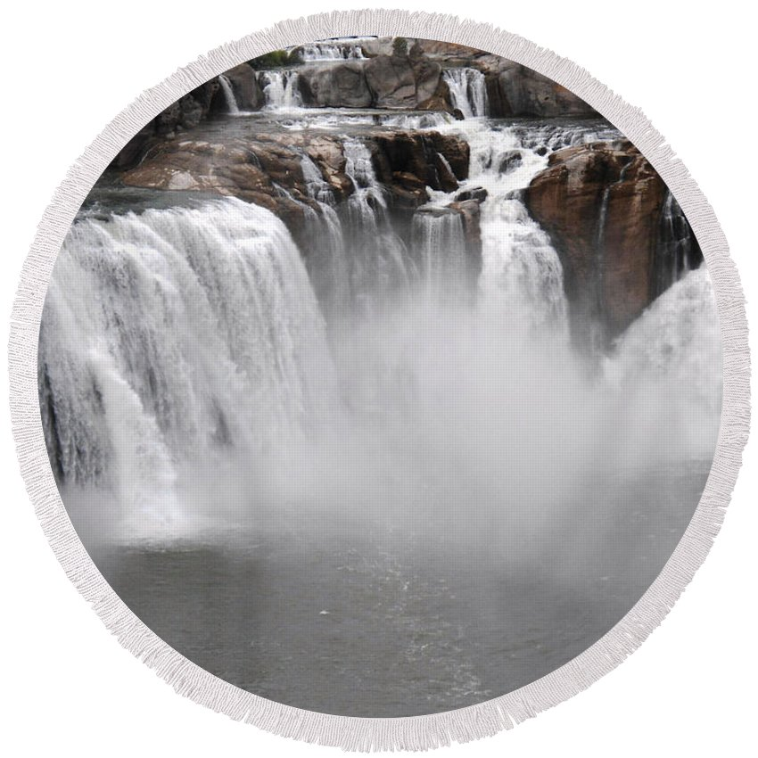 Water Round Beach Towel featuring the photograph The Falls by Lovina Wright