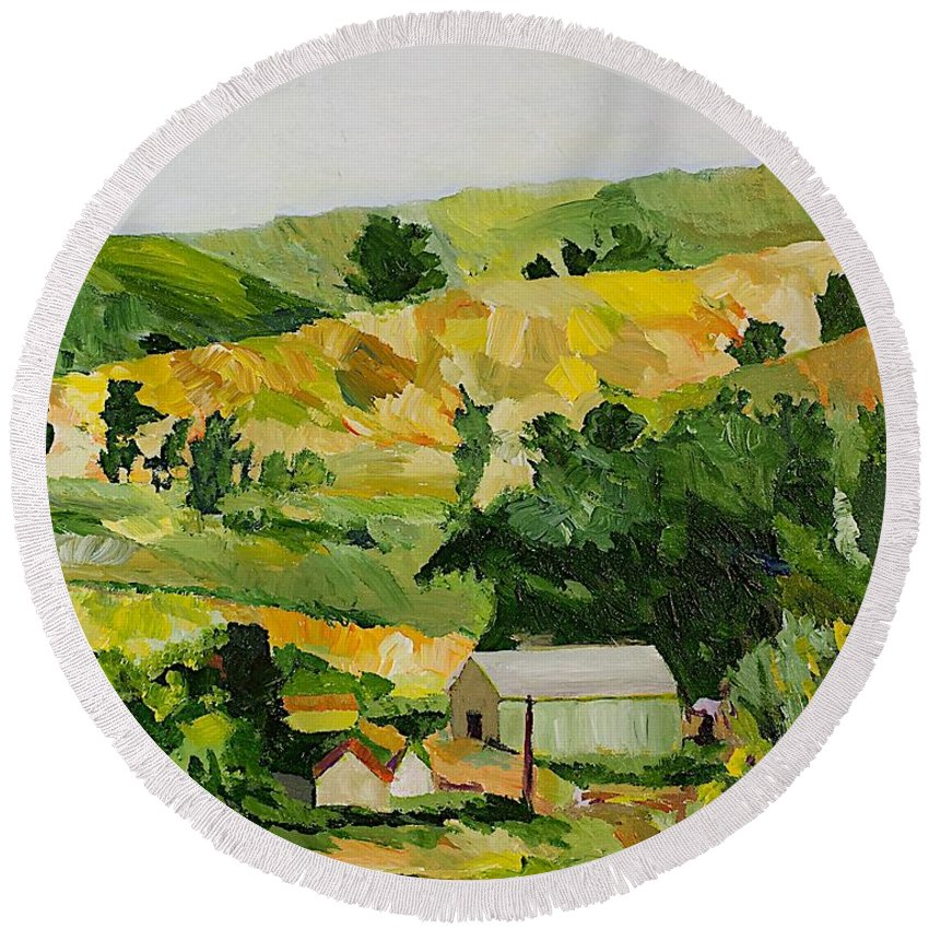Landscape Round Beach Towel featuring the painting The Farm by Allan P Friedlander
