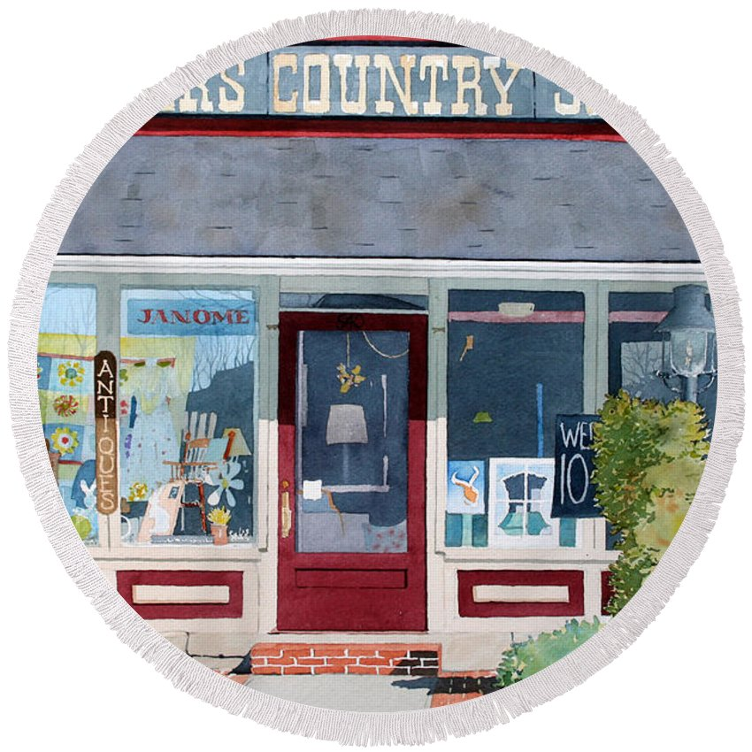 Country Round Beach Towel featuring the painting The Farmer's Country Store by Jim Gerkin