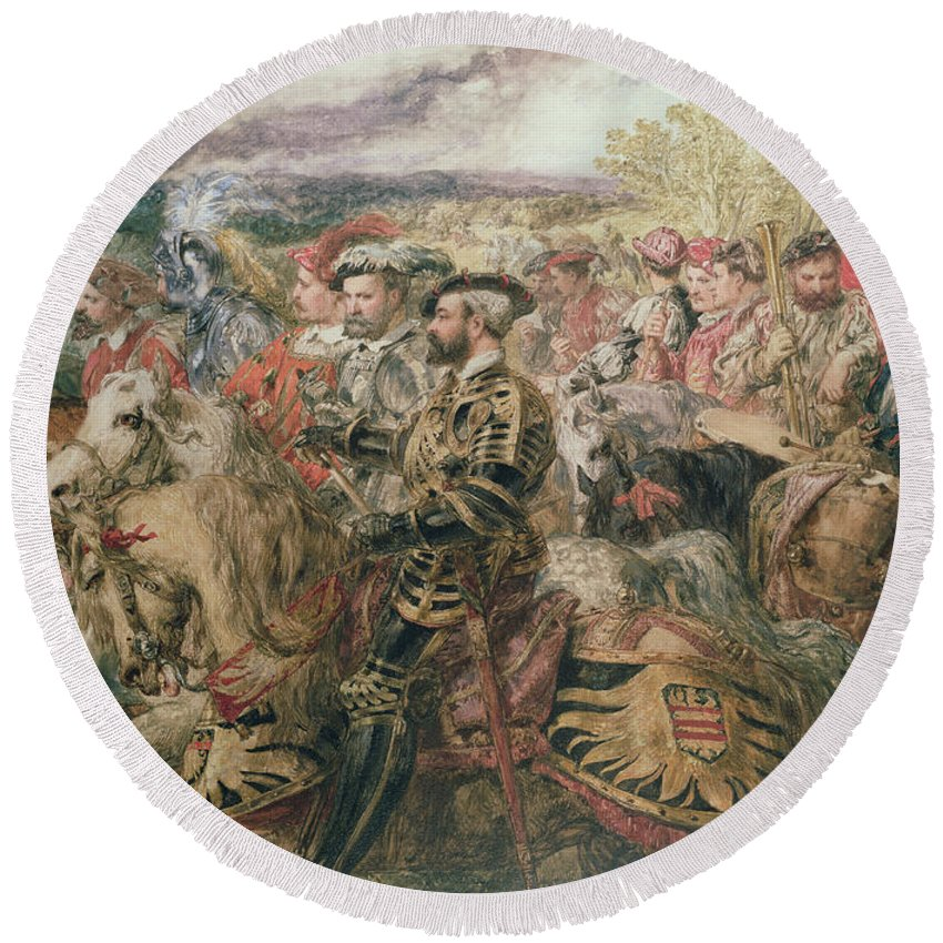 Armour Round Beach Towel featuring the painting The Field Of The Cloth Of Gold, 1520 by Sir John Gilbert