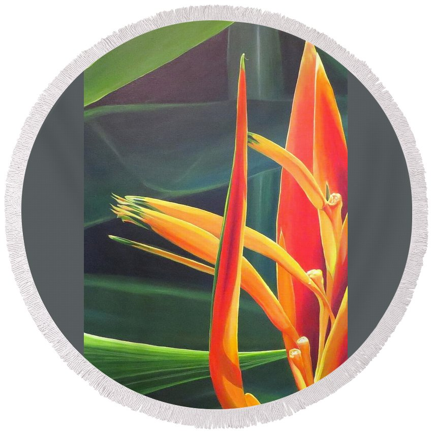 Bird Of Paradise Round Beach Towel featuring the painting The Final Flame by Hunter Jay