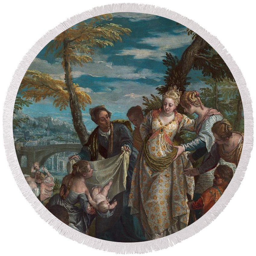 1570-1575 Round Beach Towel featuring the painting The Finding Of Moses by Paolo Veronese