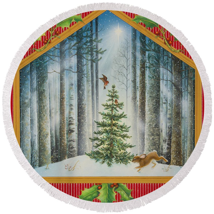 Christmas Round Beach Towel featuring the painting The Fir Tree by Lynn Bywaters