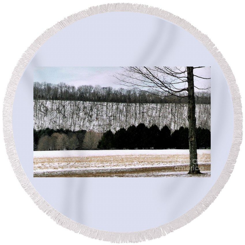 Landscape Photos Round Beach Towel featuring the photograph The First Snow New Hope Pa by Michael Hoard