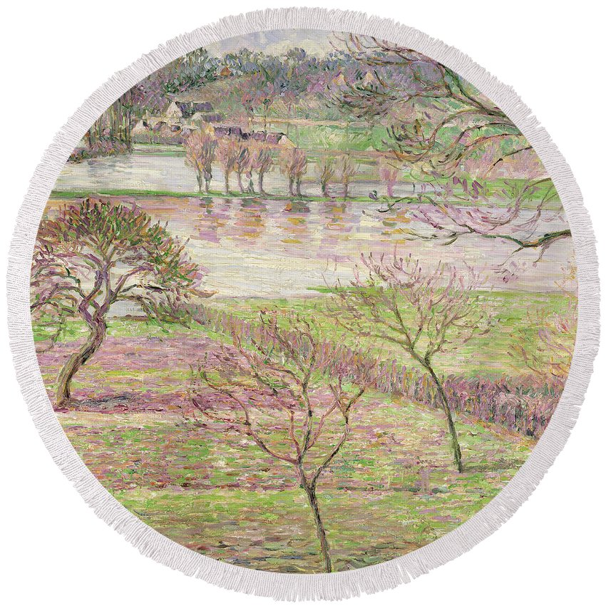 Impressionist Round Beach Towel featuring the painting The Flood At Eragny by Camille Pissarro