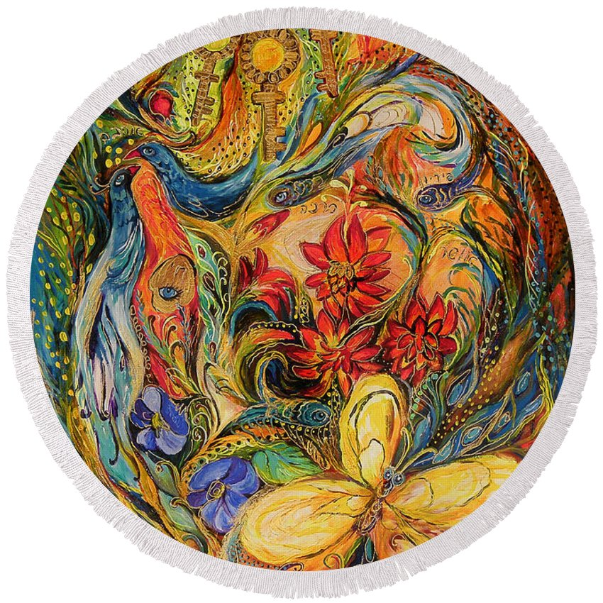 Original Round Beach Towel featuring the painting The Flowers Of Holy Land by Elena Kotliarker