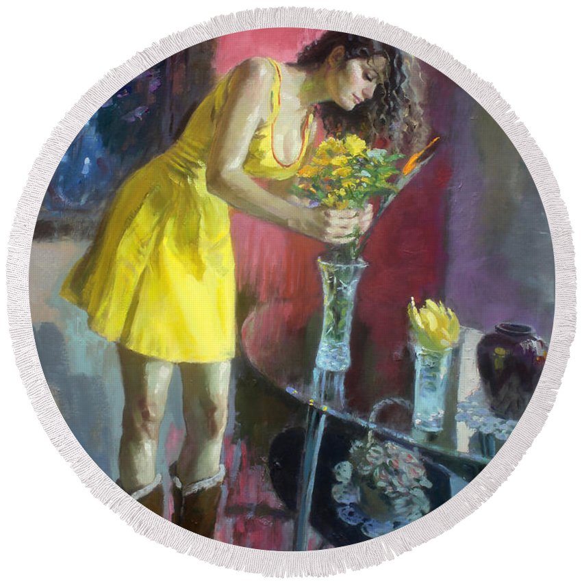 Girl Round Beach Towel featuring the painting The Flowers by Ylli Haruni