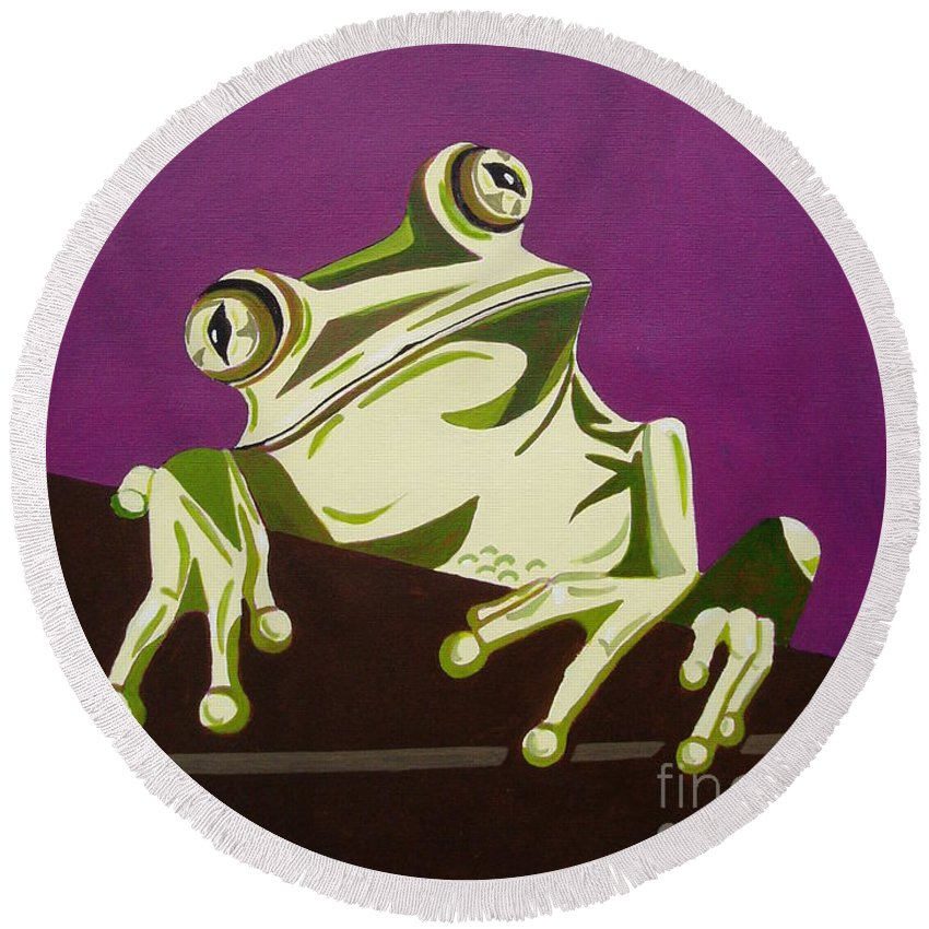 Frog Round Beach Towel featuring the painting The Fly Catcher by Suzette Broad