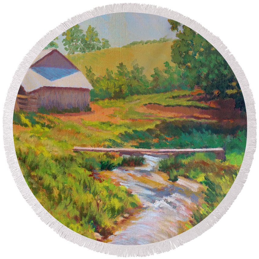 Impressionism Round Beach Towel featuring the painting The Foot Bridge by Keith Burgess