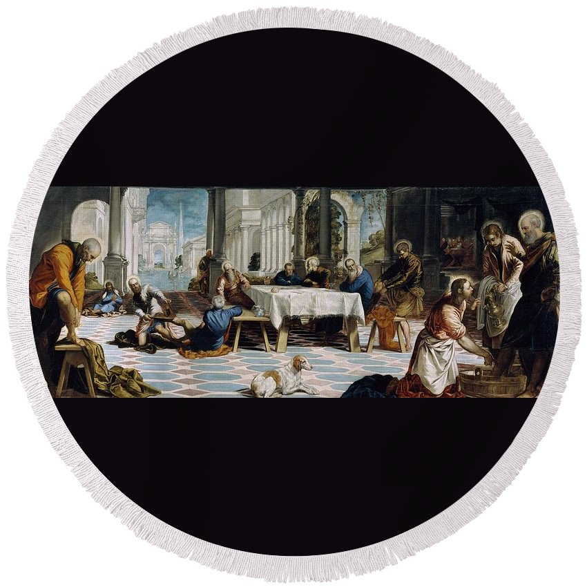 1548-1549 Round Beach Towel featuring the painting The Foot Washing by Tintoretto