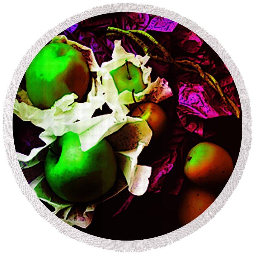 Apples Image Round Beach Towel featuring the digital art The Forbidden Fruit II by Yael VanGruber