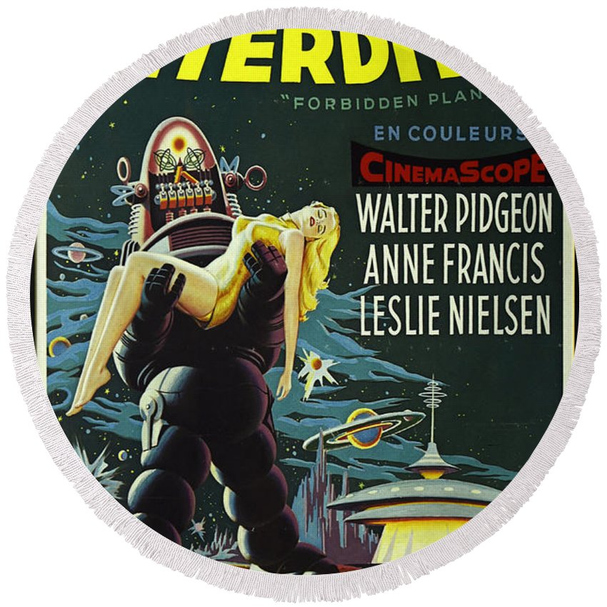 Forbidden Planet Round Beach Towel featuring the photograph The Forbidden Planet Vintage Movie Poster by Bob Christopher