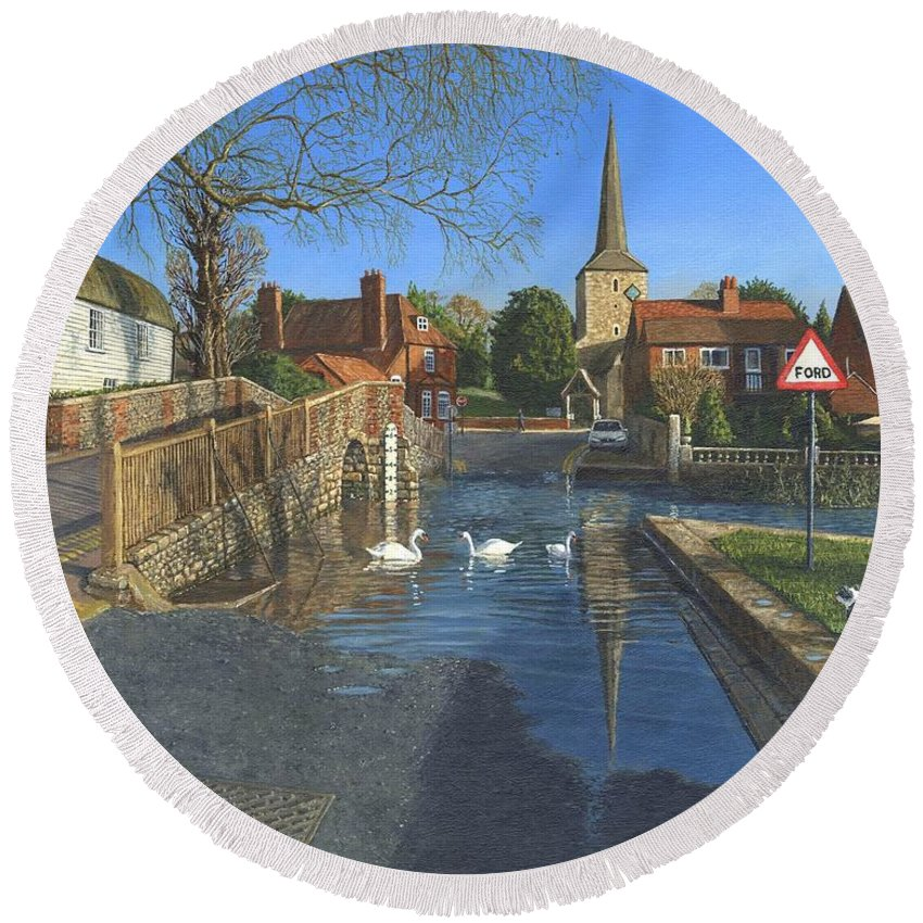 Eynsford Round Beach Towel featuring the painting The Ford At Eynsford Kent by Richard Harpum