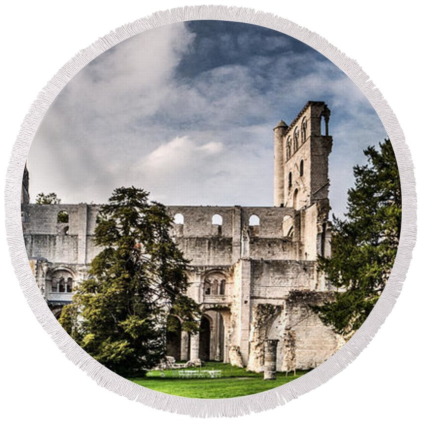 Abbey Round Beach Towel featuring the photograph The Forgotten Abbey 2 by Weston Westmoreland