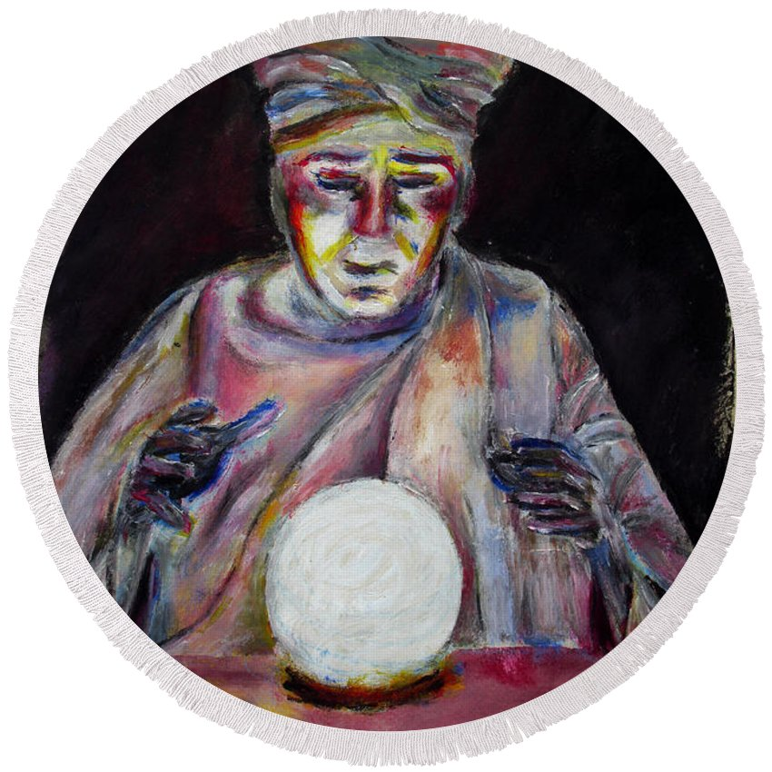 Fortune Tellers Round Beach Towel featuring the painting The Fortune Teller by Tom Conway