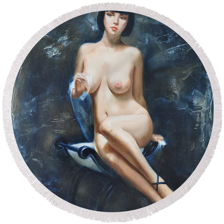 Oil Round Beach Towel featuring the painting The french model by Sergey Ignatenko