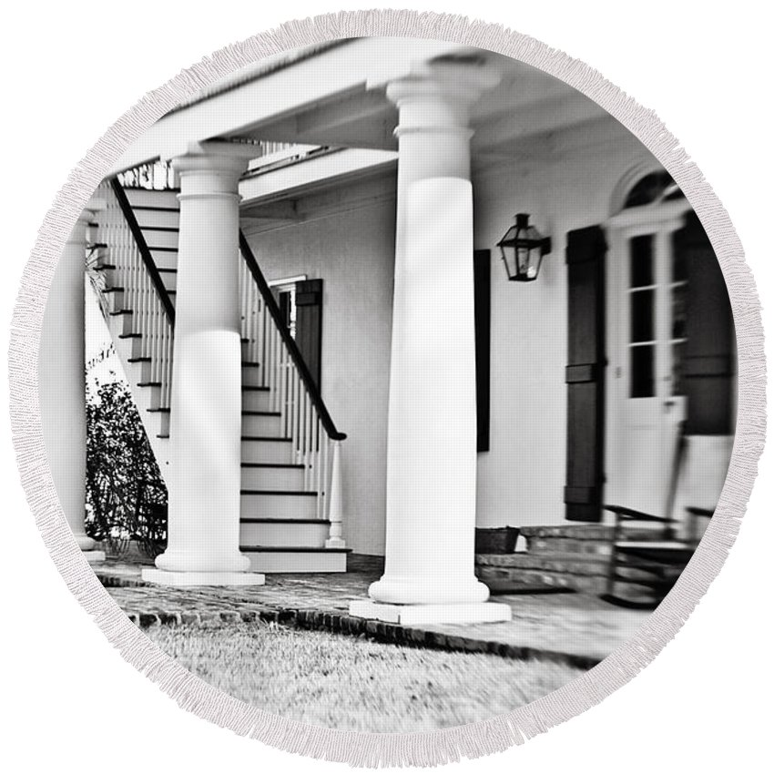Porch Round Beach Towel featuring the photograph The Front Porch - Bw by Scott Pellegrin