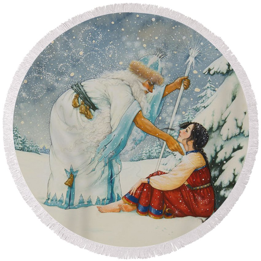 Fairy Tale Round Beach Towel featuring the painting The Frost King by Lynn Bywaters