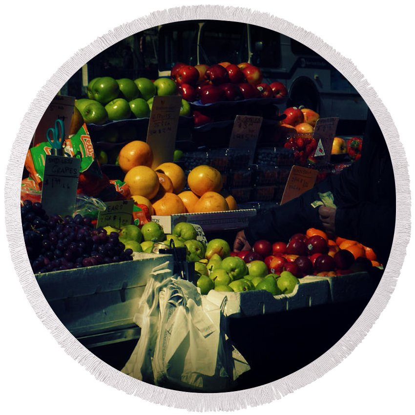 Fruitstand Round Beach Towel featuring the photograph The Fruit Seller - New York City Street Scene by Miriam Danar