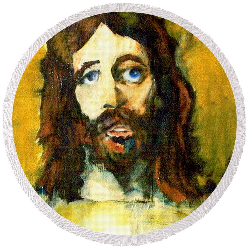 Jesus Christ Round Beach Towel featuring the painting The Galilean by Seth Weaver