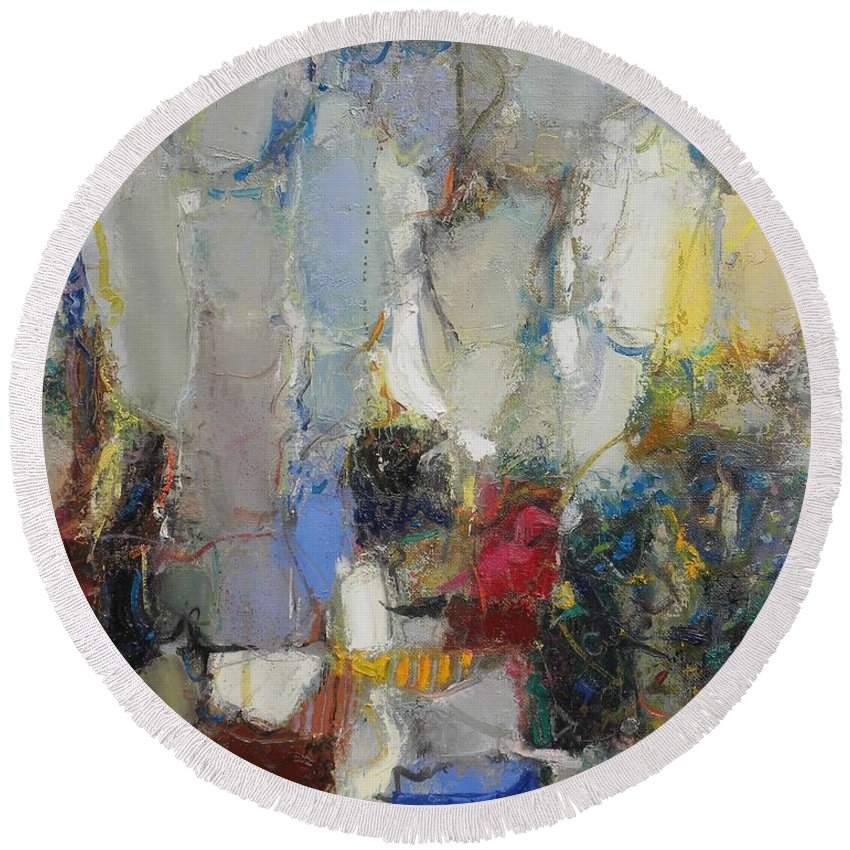 Abstract Round Beach Towel featuring the painting The Garden Of Eden by Grigor Malinov