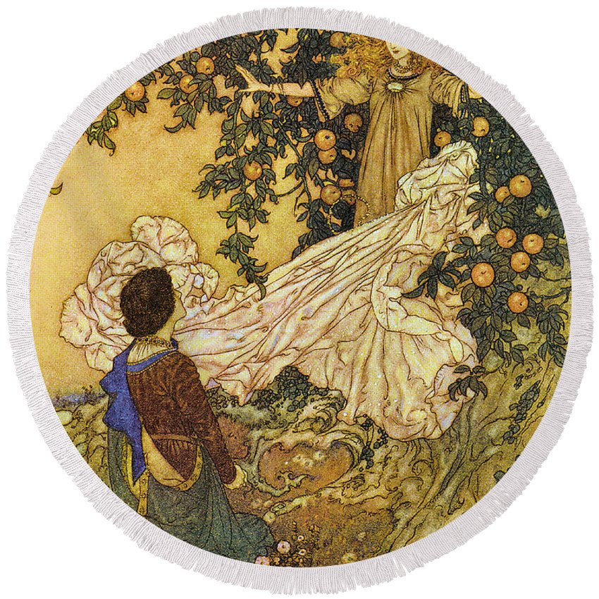 Edmund Dulac Round Beach Towel featuring the digital art The Garden Of Paradise IIi by Edmund Dulac