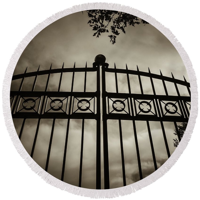 Gates Round Beach Towel featuring the photograph The Gate In Sepia by Steven Milner