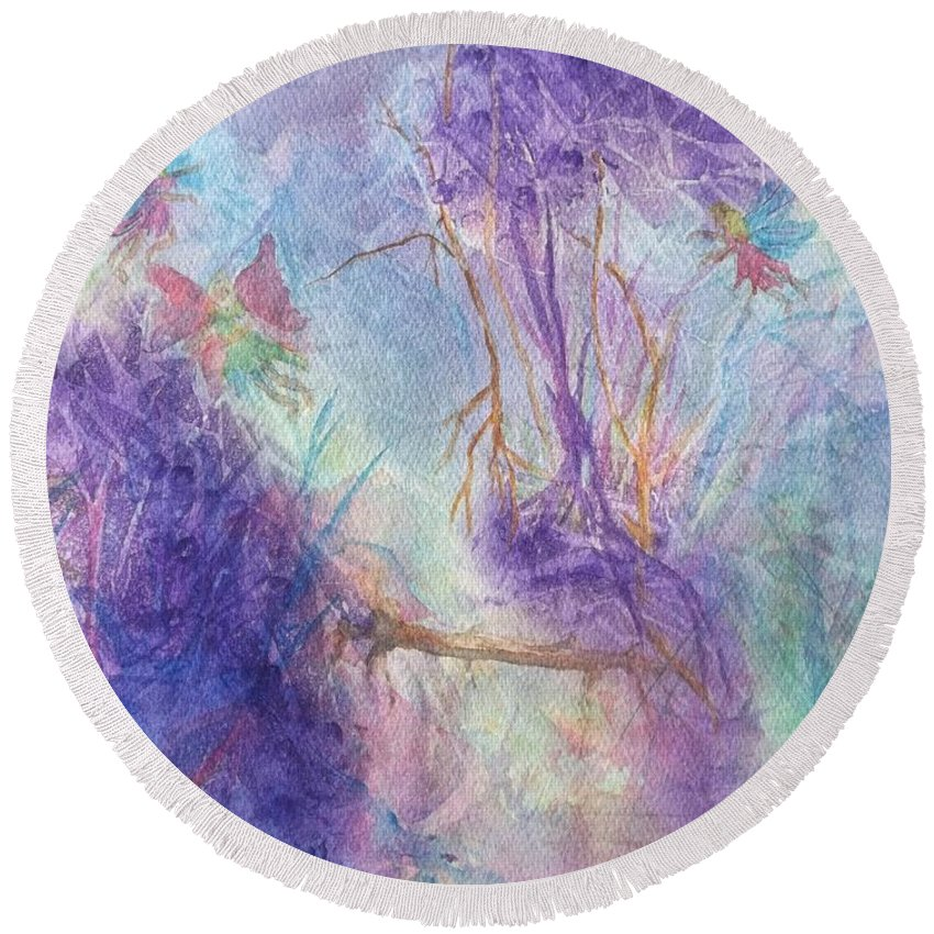 Fairy Round Beach Towel featuring the painting The Gathering by Ellen Levinson