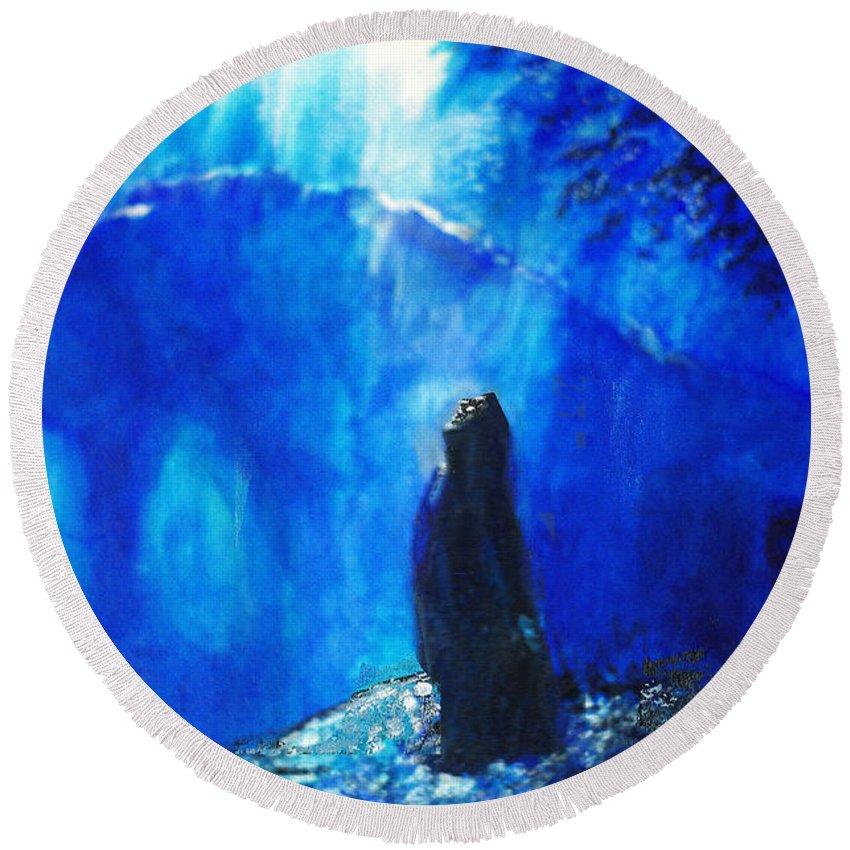 The Gethsemane Prayer Round Beach Towel featuring the painting The Gethsemane Prayer by Seth Weaver