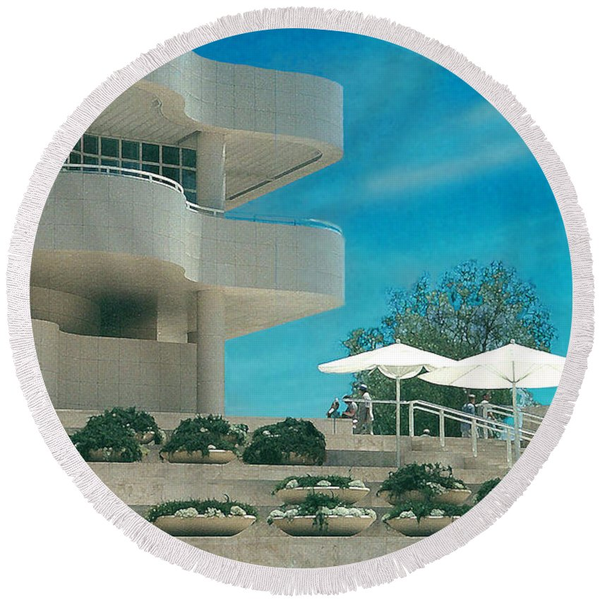 Landscape Round Beach Towel featuring the photograph The Getty Panel 1 by Steve Karol
